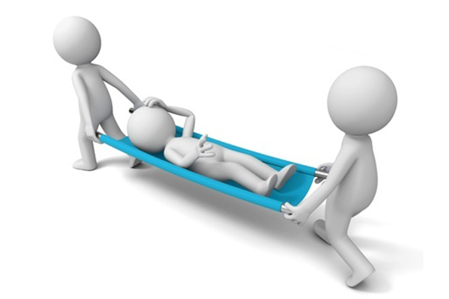 Graphic of casualty on stretcher