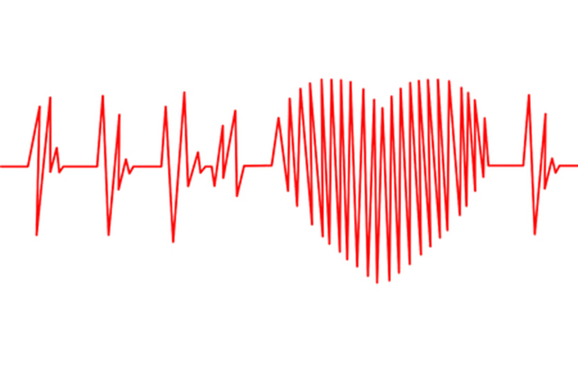 Graphic of heart trace on the shape of a heart